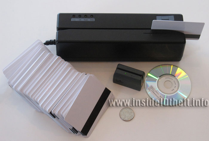 Credit Debit ATM card reader and writer plus small skimmer, blank credit card stock and software